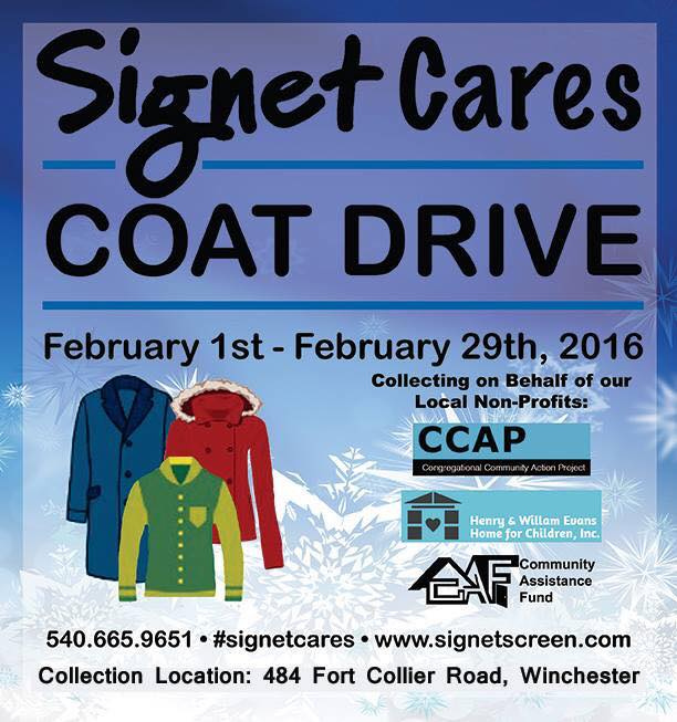 Coat Drive for CAF clients from Signet Screen Printing